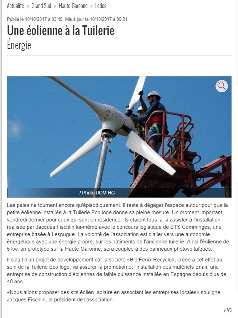 Une éolienne à la tuilerie - une-eolienne-a-la-Tuilerie-ladepeche -